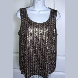 Chico's Mocha Brown Sequin Beaded Tank Top Large
